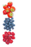 Fresh raspberries, blueberries and strawberries, top view. Isolated on white Royalty Free Stock Image