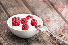 Fresh raspberries and blueberries with yogurt. Delicious fresh raspberries and blueberries topping a bowl of creamy yogurt for a healthy snack or dessert served Stock Image