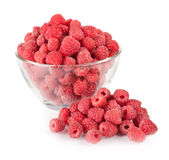 Fresh raspberries in a bowl. Isolated on white Royalty Free Stock Photos