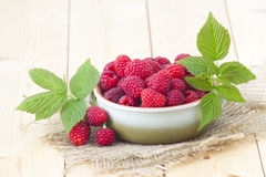 Fresh raspberries. In a bowl Stock Photography
