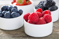 Fresh raspberries in a bowl and berries, closeup, horizontal. Close-up Stock Photos