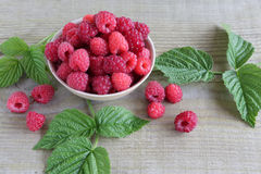Fresh raspberries in a bowl. Fresh raspberries with leaves as background, top view Stock Images