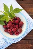 Raspberries in a bowl in a rustic style. Fresh raspberries in a bowl in a rustic style Royalty Free Stock Image