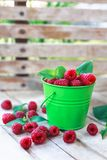 Fresh raspberries in the bucket. Fruit-organic-healthy-berries Royalty Free Stock Image