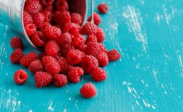 Fresh raspberries in a bucket. Fresh raspberries in a small metal bucket on a blue turquoise  background Royalty Free Stock Images