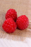 Fresh raspberries on canvas and wooden table, healthy food Stock Images