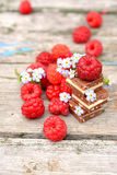 Fresh raspberries with chocolate cubes Stock Photo