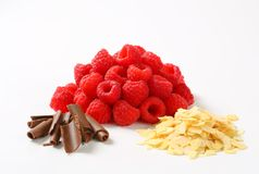 Fresh raspberries, chocolate curls and sliced almonds. Heaps of fresh raspberries, chocolate curls and sliced almonds Stock Image