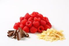 Fresh raspberries, chocolate curls and sliced almonds Stock Image