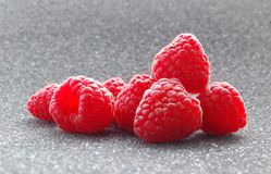 Fresh Raspberries on the Dark Background Stock Image