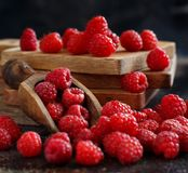 Fresh raspberries on a dark background. Close up Stock Photos