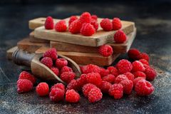 Fresh raspberries on a dark background. Close up Royalty Free Stock Image