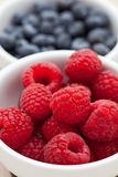 Fresh raspberries in a dish. With blueberries in the background Royalty Free Stock Image
