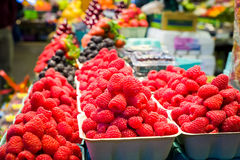 Fresh Raspberries on Display. Containers of fresh raspberries on display in a Canadian grocery store Stock Image