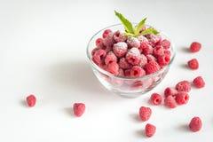 Fresh raspberries in the glass bowl Royalty Free Stock Photo
