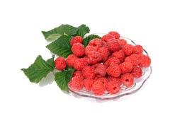 Fresh raspberries on a glass dish Royalty Free Stock Photo
