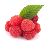 Fresh raspberries with green leaf. Isolated on white background Royalty Free Stock Images