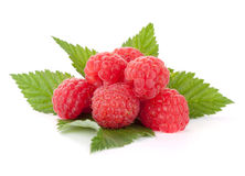 Fresh raspberries heap on leaves Royalty Free Stock Photos