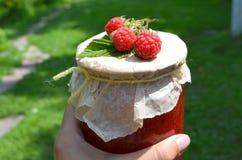 Fresh raspberries and jam Royalty Free Stock Photos