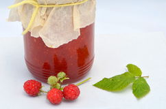 Fresh raspberries and jam. Red fresh raspberries and jam Royalty Free Stock Photography