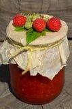 Fresh raspberries and jam Royalty Free Stock Photography