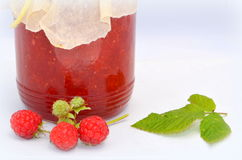 Fresh raspberries and jam. Red fresh raspberries and jam Stock Image