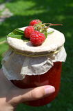 Fresh raspberries and jam Stock Photos