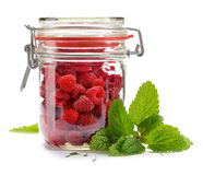 Fresh raspberries in a jar. Fresh raspberries with organic cultivation, delicious and healthy Stock Photo