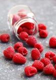 Fresh raspberries. In jar. Selective focus Stock Photo