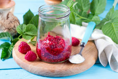 Fresh raspberries in a jar Royalty Free Stock Images