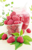 Fresh raspberries.jpg. Still life from the fresh raspberries and by the jam Stock Photo