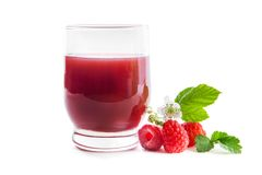 Fresh raspberries and juice. Isolated on white Stock Images