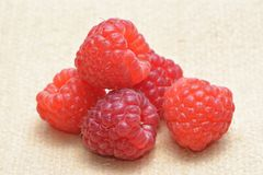 Fresh raspberries. On a jute cloth Stock Photo