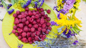 Fresh Raspberries with Lavender Stock Image