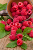 Fresh raspberries with leafs in bowl on wooden table Royalty Free Stock Images