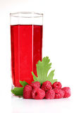 Fresh raspberries, leaves and juice. Over the white Stock Images