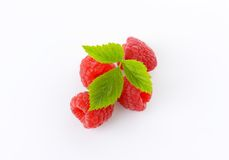 Fresh raspberries. With leaves on white background Royalty Free Stock Photography