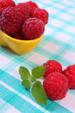 Fresh raspberries and lemon balm on checkered tablecloth, healthy food and dessert. Fresh raspberries and leaf of lemon balm on checkered tablecloth, concept of Stock Photography