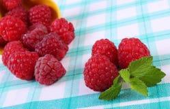 Fresh raspberries and lemon balm on checkered tablecloth, healthy food. Fresh raspberries and leaf of lemon balm on checkered tablecloth, concept of healthy food Stock Photos
