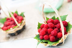 Fresh raspberries from local farm Stock Photo