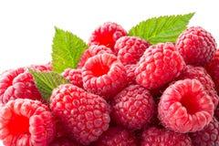 Fresh raspberries macro. Background. Fresh raspberries with leaves macro. Background Stock Photos