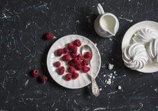 Fresh raspberries and meringue Stock Images