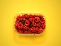 Fresh raspberries in plastic box Stock Photography