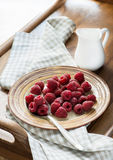 Fresh raspberries on plate and milk for breakfast. Selective focus Royalty Free Stock Images
