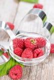 Fresh Raspberries. Portion of fresh Raspberries (detailed close-up shot Stock Photography
