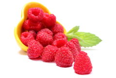 Fresh raspberries pouring out of yellow bowl. White background Stock Photography