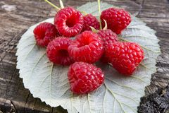 Fresh raspberries on raspberry leaf. And wooden background close up Stock Photography