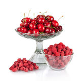 Fresh raspberries and red cherries in a bowl. Isolated on white Royalty Free Stock Image