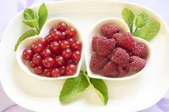 Fresh raspberries and red currant Royalty Free Stock Images