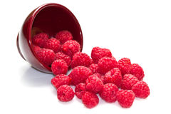 Fresh raspberries. Scattered on white background Royalty Free Stock Photos